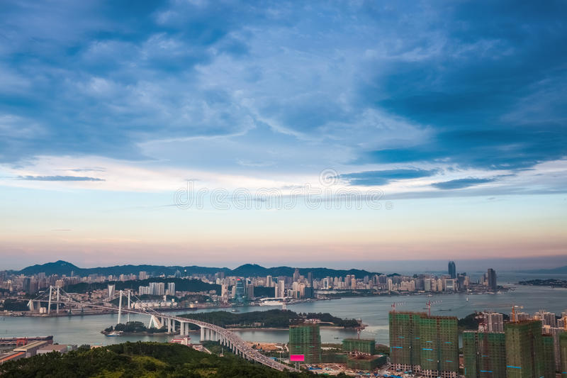 Aerial view of xiamen at dusk. Aerial view of beautiful coastal city in xiamen at dusk stock images