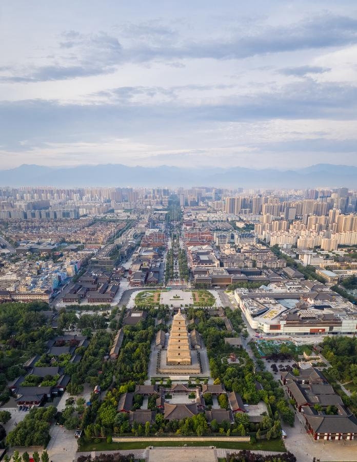 Aerial view of xian wild goose pagoda. Xian big wild goose pagoda on the central axis of the city, China royalty free stock images