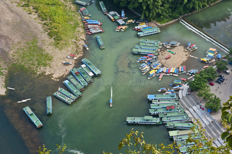 Aerial view of the xinping dock stock photography