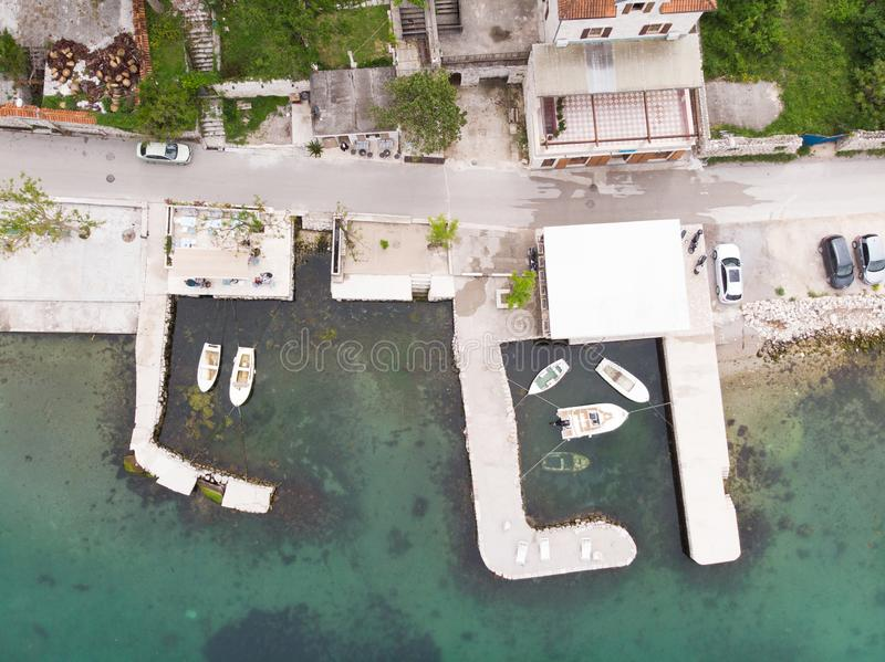 aerial view of yachts in small town of Kotor bay, montenegro. summer time stock images