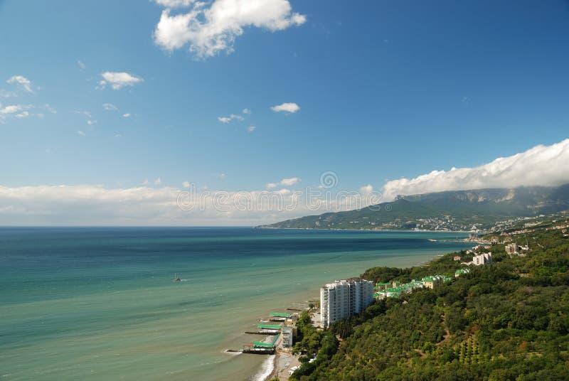 Aerial view of Yalta bay royalty free stock photo