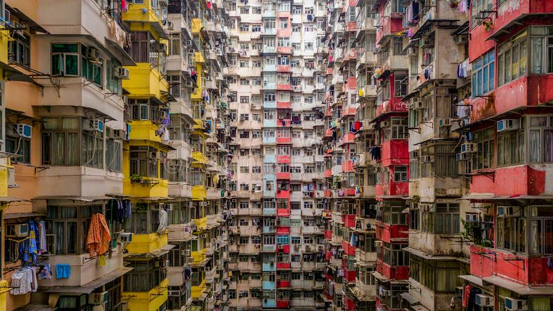 Aerial view of Yick Fat Building, Quarry Bay, Hong Kong. Residential area in old apartment with windows. High-rise building, stock images