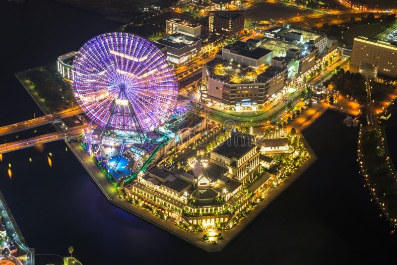 Aerial view of Yokohama city at dusk royalty free stock photo