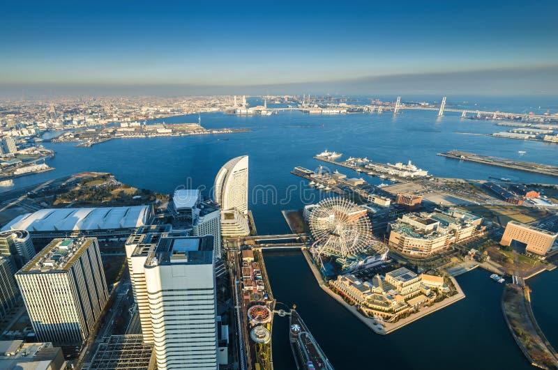 Aerial view of Yokohama Cityscape at Minato Mirai waterfront royalty free stock image