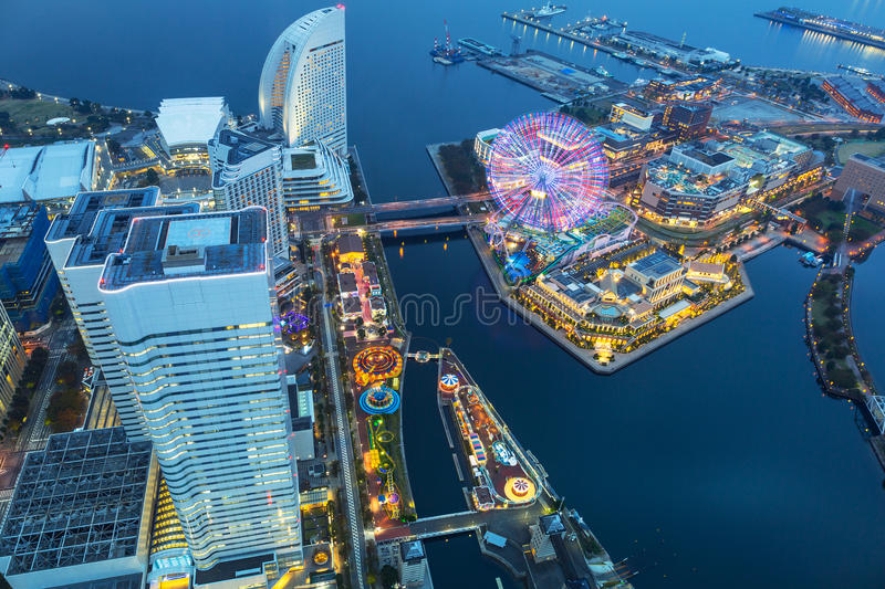 Aerial view of Yokohama at dusk royalty free stock photo