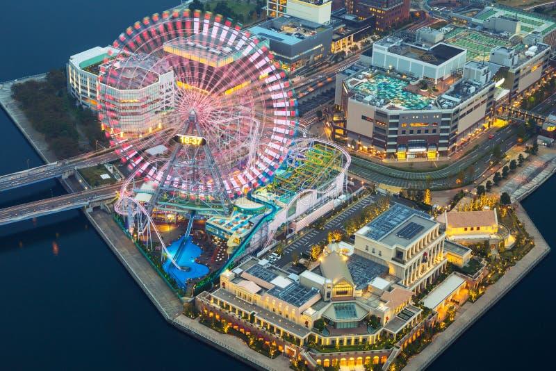 Aerial view of Yokohama at dusk royalty free stock photos