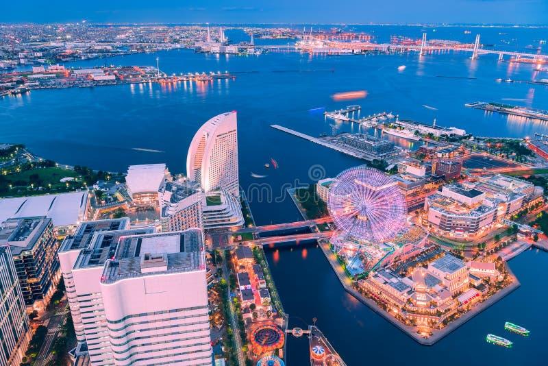 Aerial view of Yokohama Minato Mirai 21 at twilight royalty free stock photography