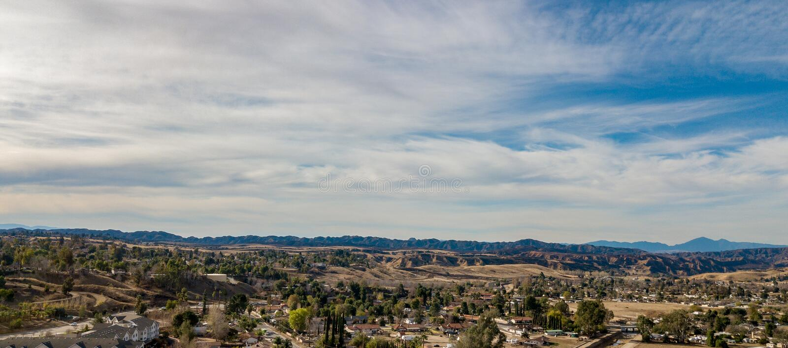 Aerial View of The Yucaipa Badlands, Southern California royalty free stock image