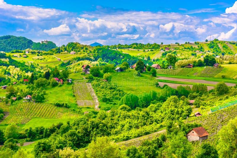 Amazing countryside in Zagorje region, Croatia. Aerial view at Zagorje countryside in Northern Croatia, tourist resort in Europe stock photo