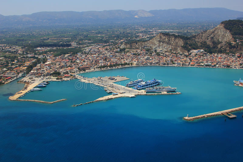 Aerial view on Zakynthos Greece stock images