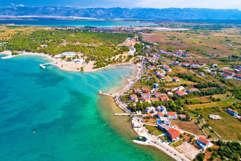 Aerial view of Zaton tourist waterfront and Velebit mountain background. Dalmatia region of Croatia stock photo