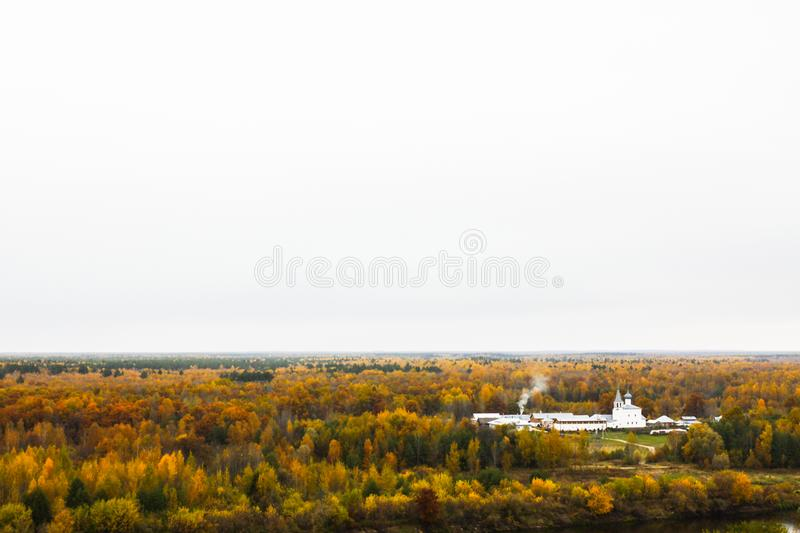 Aerial view of the Znamensky Convent on the left bank of the River Klyazma. Gorokhovets. Vladimir oblast, Russia stock photos