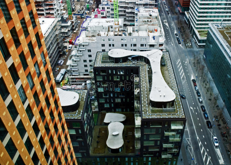 Aerial view on Zuidas Amsterdam stock photos