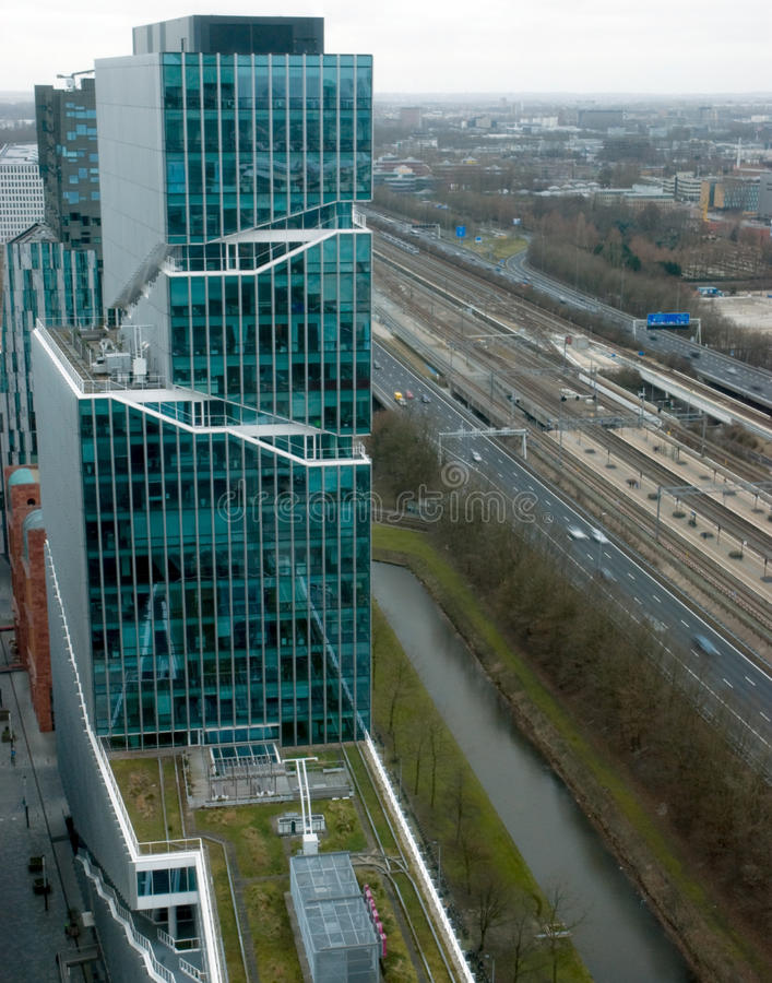 Aerial view on Zuidas Amsterdam royalty free stock image