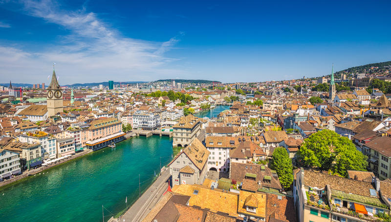 Aerial view of Zurich with river Limmat, Switzerland royalty free stock photography