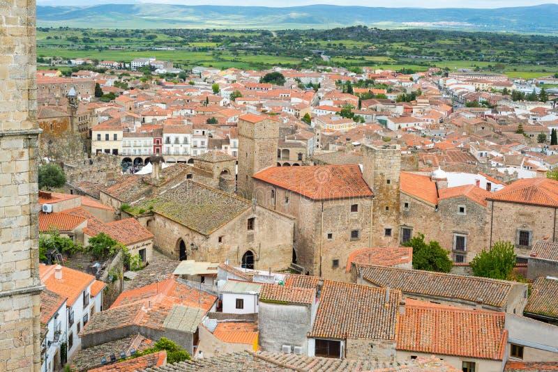 Aerial views of the beautiful city of Trujillo royalty free stock photo