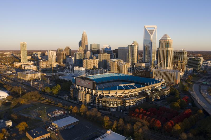 Aerial Views Of The City Of Charlotte, North Carolina. Bank of America Stadium is home to the NFL's Carolina Panthers in Charlotte, NC royalty free stock photography