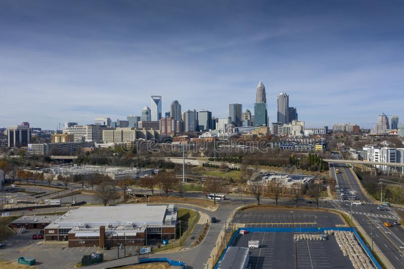 Aerial Views Of The City Of Charlotte, North Carolina. Charlotte is the most populous city in the U.S. state of North Carolina. Located in the Piedmont, it is stock photo