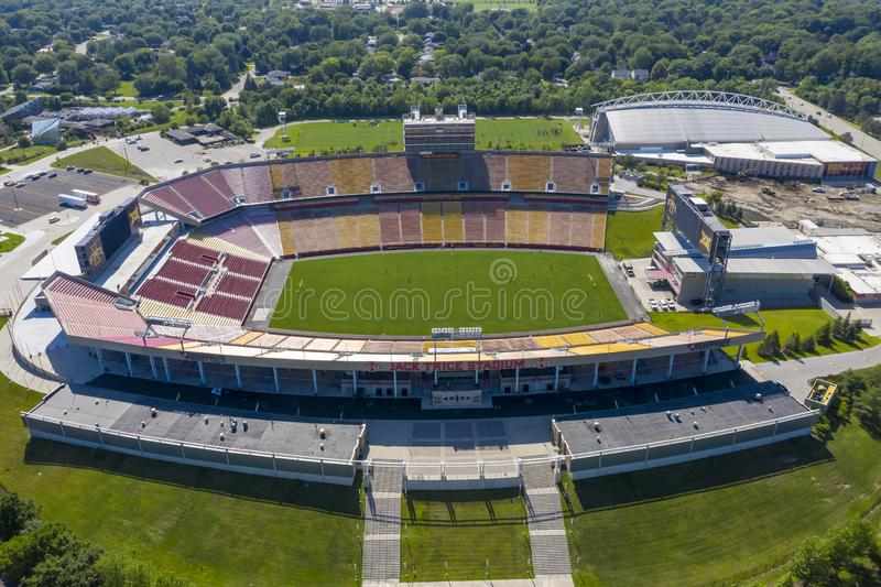 Aerial Views Of Jack Trice Stadium On The Campus Of Iowa State University royalty free stock photo