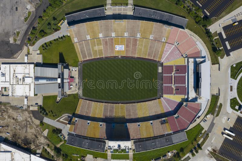 Aerial Views Of Jack Trice Stadium On The Campus Of Iowa State University stock images