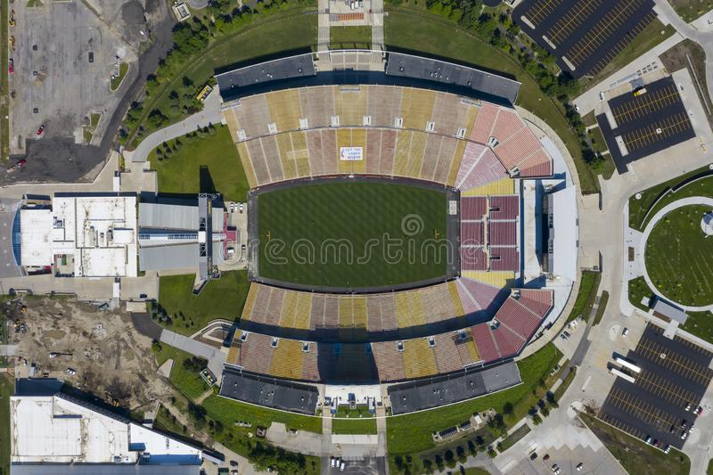 Aerial Views Of Jack Trice Stadium On The Campus Of Iowa State University royalty free stock photography