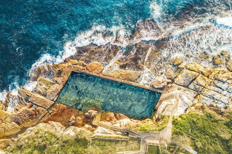 Aerial views of McIvers Ocean Baths Coogee Australia. McIvers ocean baths are a cliffside seaside ocean fed saltwater pool and sunbathing area on the coast of royalty free stock image
