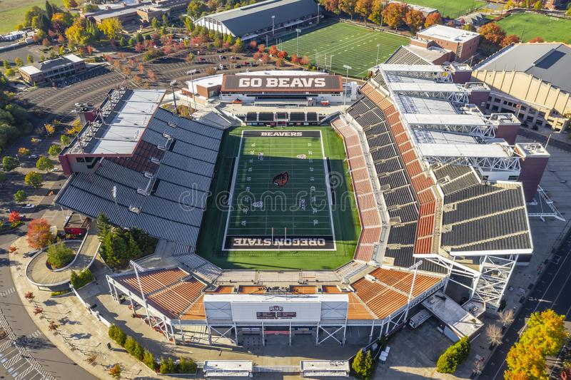 Aerial Views Of Reser Stadium On The Campus Of Oregon State Univ. October 13, 2018 - Corvallis, Oregon, USA: Reser Stadium is an outdoor athletic stadium in the stock image