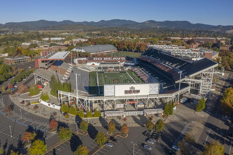 Aerial Views Of Reser Stadium On The Campus Of Oregon State Univ. October 13, 2018 - Corvallis, Oregon, USA: Reser Stadium is an outdoor athletic stadium in the stock photography