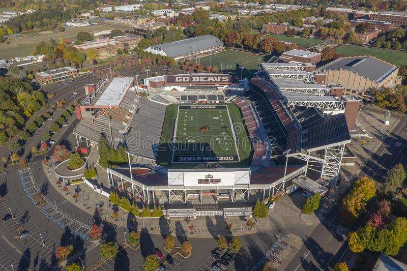 Aerial Views Of Reser Stadium On The Campus Of Oregon State Univ. October 13, 2018 - Corvallis, Oregon, USA: Reser Stadium is an outdoor athletic stadium in the royalty free stock image