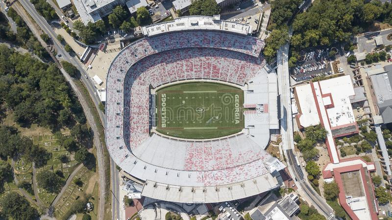 Aerial Views Of Sanford Stadium. October 03, 2018 - Athens, Georgia, USA: Aerial views of Sanford Stadium, which is the on-campus playing venue for football at stock image