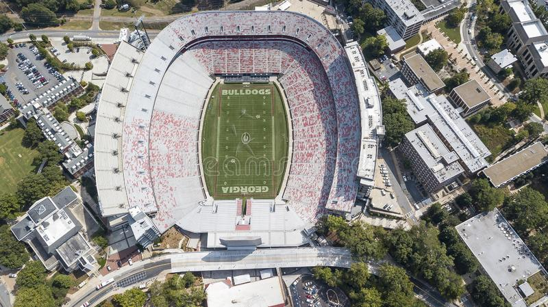 Aerial Views Of Sanford Stadium. October 03, 2018 - Athens, Georgia, USA: Aerial views of Sanford Stadium, which is the on-campus playing venue for football at royalty free stock photo