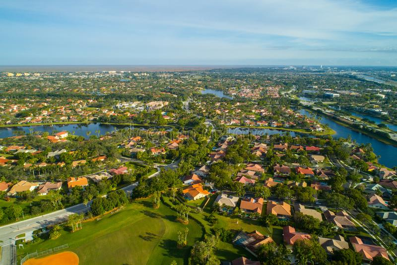 Aerial Weston Florida residential neighborhoods. Aerial drone image of residential neighborhoods in Weston Florida United States stock photo