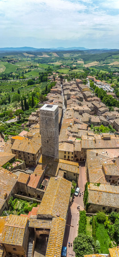 Aerial wide-angle view of the historic town of San Gimignano wit royalty free stock images