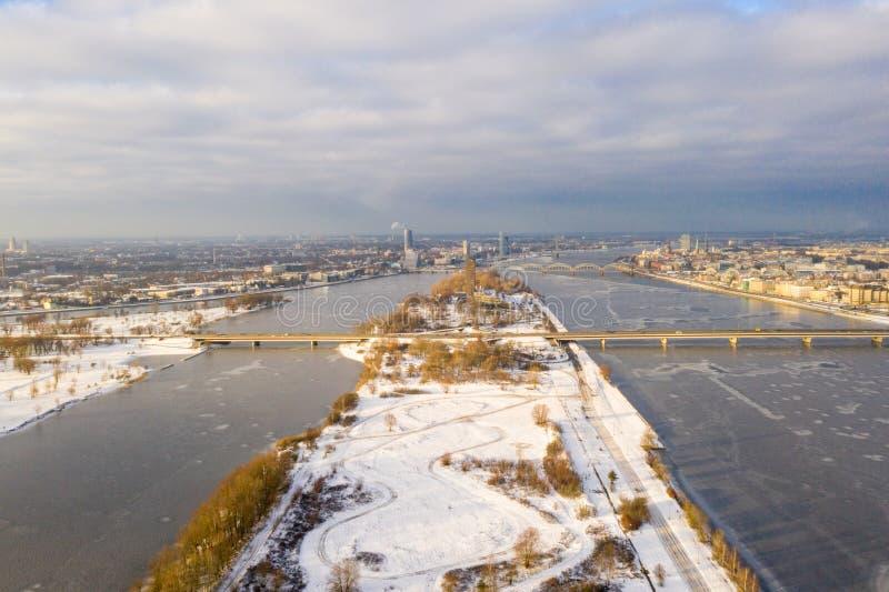 Aerial winter view over Daugava river in Riga. Latvia. beautiful Latvia royalty free stock images