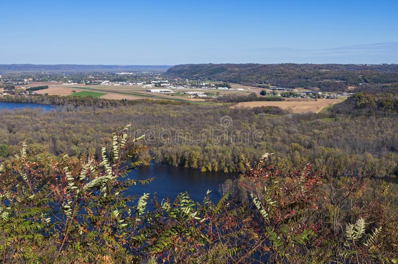 Aerial of Wisconsin River Valley and Prairie du Chien. Aerial from wyalusing state park bluffs of wisconsin river and prairie du chien wisconsin stock photography