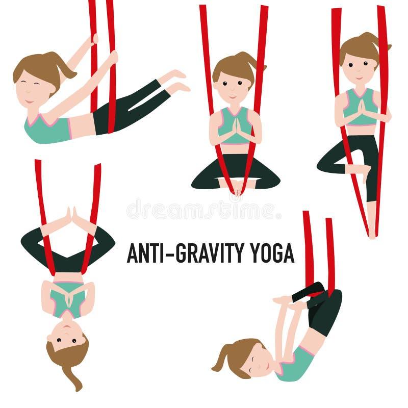 Aerial Yoga. Aero Yoga. Anti-gravity Yoga. stock illustration