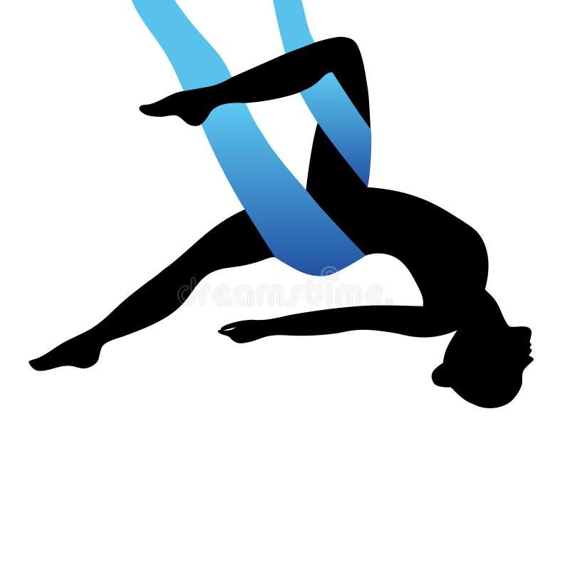 Aerial Yoga. Aero Yoga. Anti-gravity Yoga. royalty free illustration