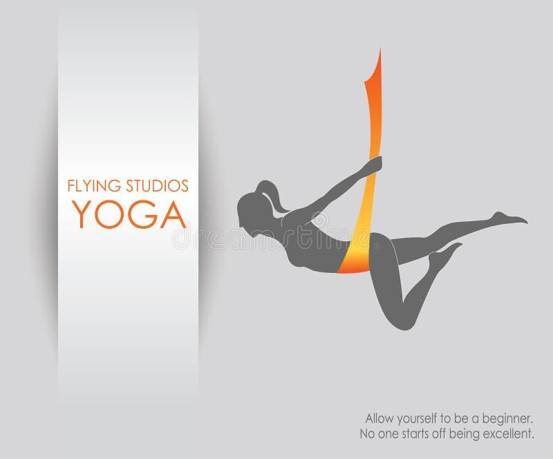 Aerial yoga for women royalty free illustration
