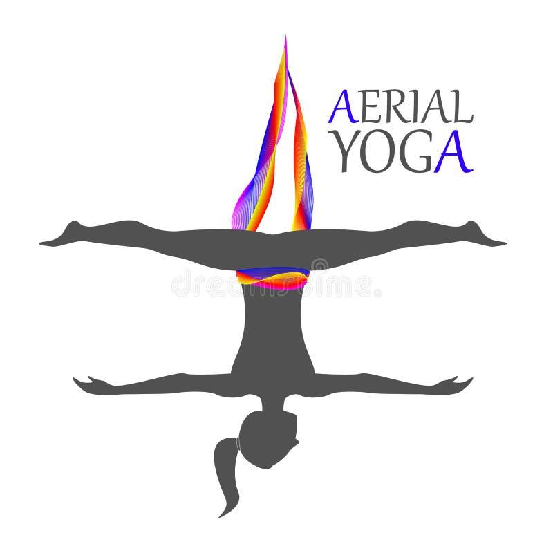Aerial yoga for women stock illustration
