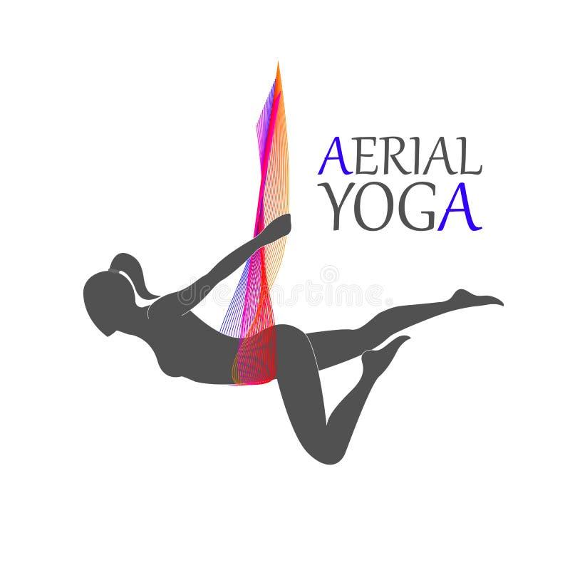 Aerial yoga for women vector illustration