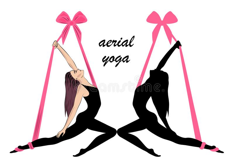 Aerial yoga. Yoga logo template design idea. stock photo