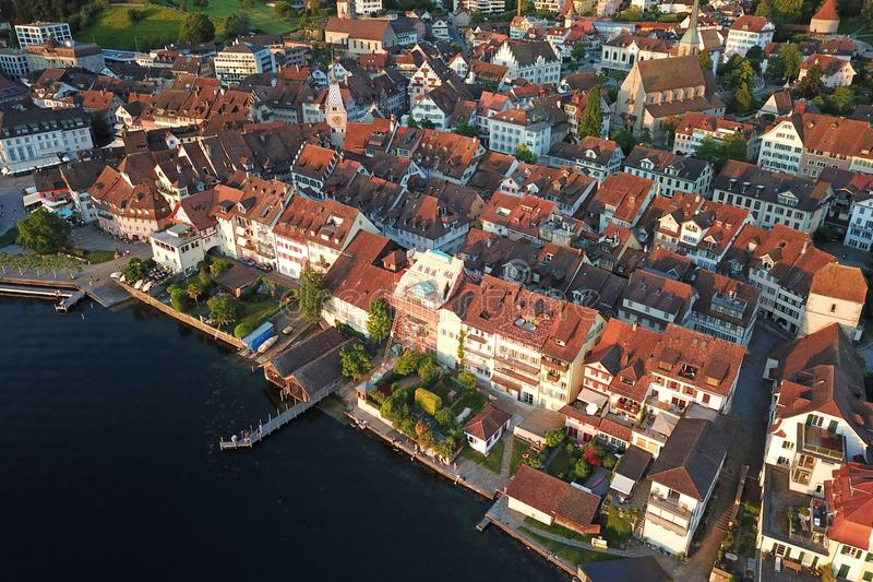 Aerial of Zug Old Town, Switzerland stock photos