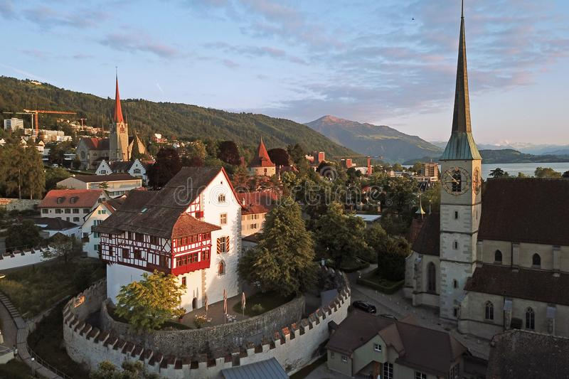 Aerial of Zug, Switzerland royalty free stock images