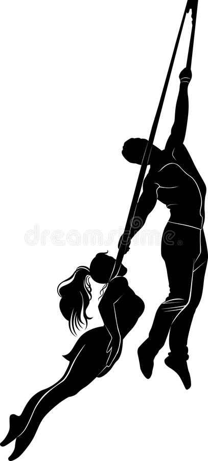 Aerialists. Acrobatic young girl and boy royalty free illustration