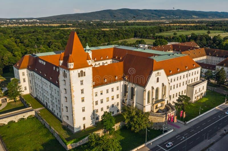 Aerialv iew of Burg Wiener Neustadt. In Austria stock images