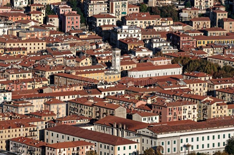 aerialview av laspeziaen från en kulle fotografering för bildbyråer