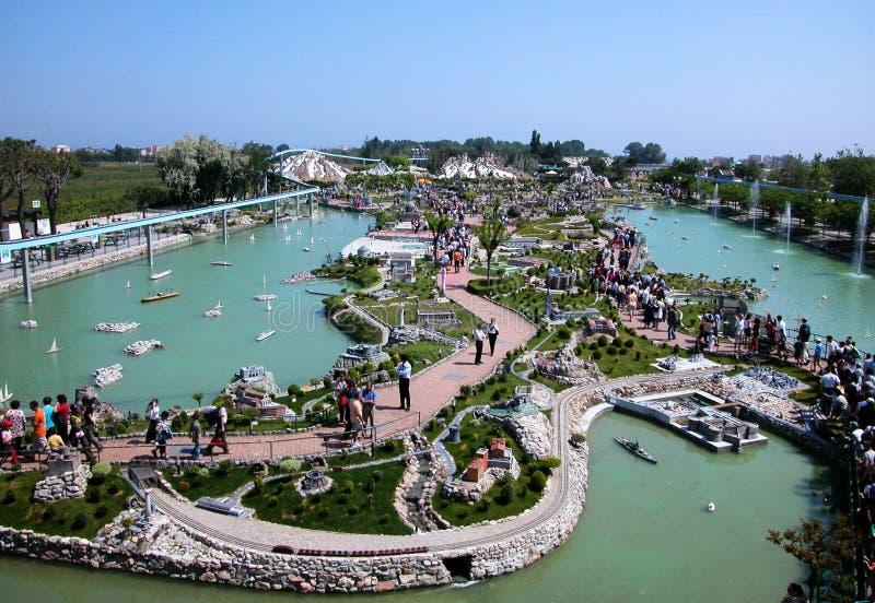 Aerieal view of theme park `Italia in miniatura`, Viserba, Italy. Aerieal view of theme park `Italia in miniatura`, Viserba, Rimini royalty free stock photos