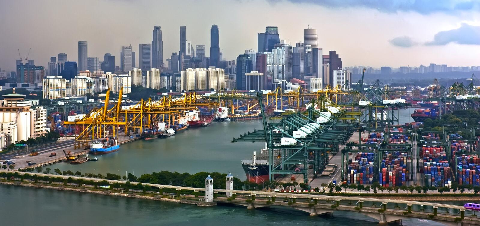 Aeriel view of busy modern industrial port town royalty free stock images