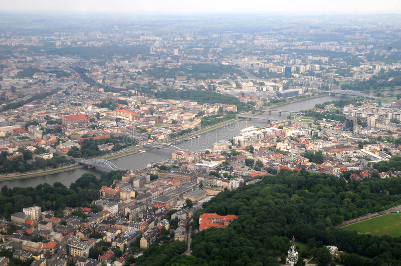Aeriel wiew of Cracow stock image