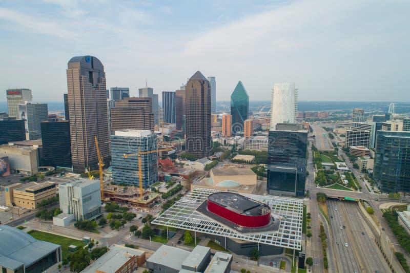 Aeril surrfoto av i stadens centrum Dallas Texas royaltyfri bild
